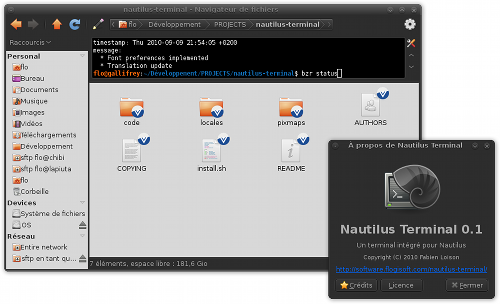Nautilus Terminal in action