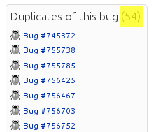 Duplicate bug count