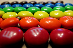 M and Ms sorted by colour