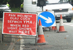 A road sign in Welsh and English