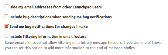 Screenshot of email configuration options