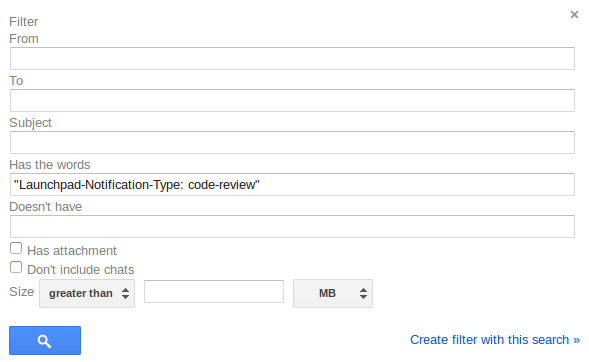 "Screenshot of Gmail filter dialog with ""Has new words"" set to ""Launchpad-Notification-Type: code-review"""