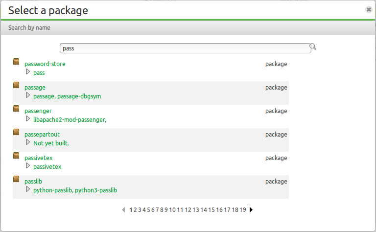 "New package picker, showing search results for ""pass"""